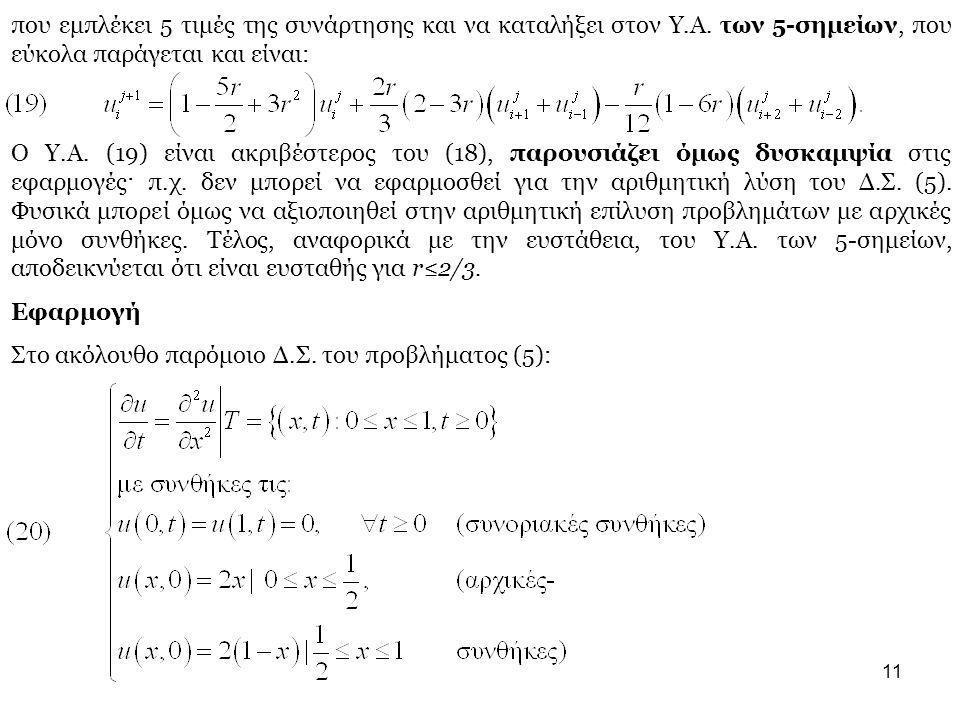 11 που εμπλέκει 5 τιμές της συνάρτησης και να καταλήξει στον Υ.Α. των 5-σημείων, που εύκολα παράγεται και είναι: Ο Υ.Α. (19) είναι ακριβέστερος του (1
