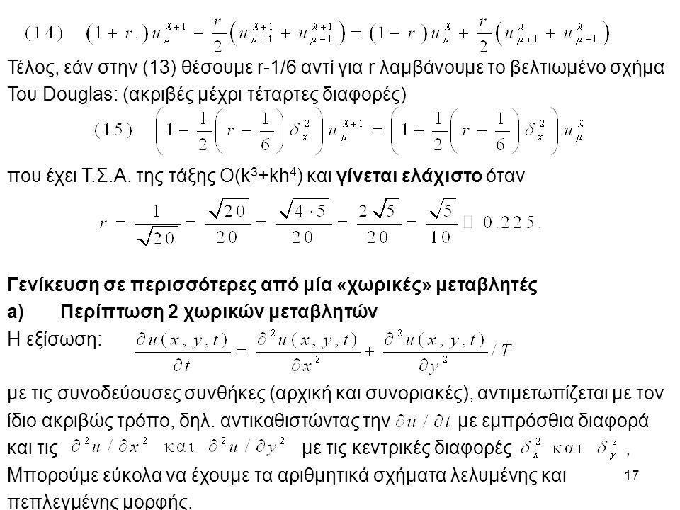 17 Τέλος, εάν στην (13) θέσουμε r-1/6 αντί για r λαμβάνουμε το βελτιωμένο σχήμα Του Douglas: (ακριβές μέχρι τέταρτες διαφορές) που έχει Τ.Σ.Α. της τάξ