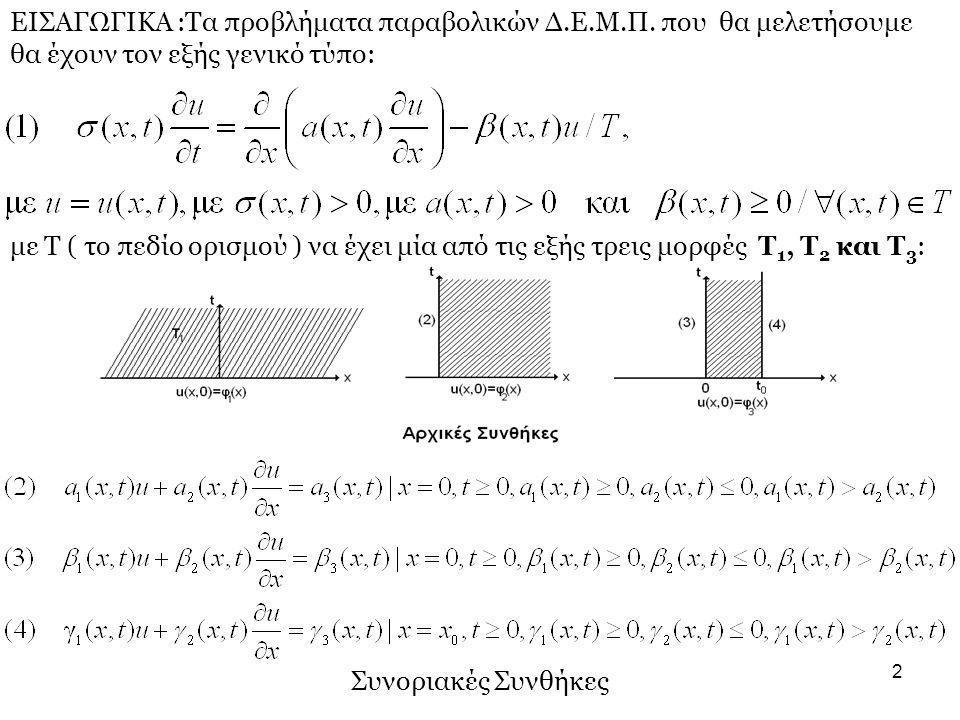 2 ΕΙΣΑΓΩΓΙΚΑ :Τα προβλήματα παραβολικών Δ.Ε.Μ.Π. που θα μελετήσουμε θα έχουν τον εξής γενικό τύπο: με Τ ( το πεδίο ορισμού ) να έχει μία από τις εξής