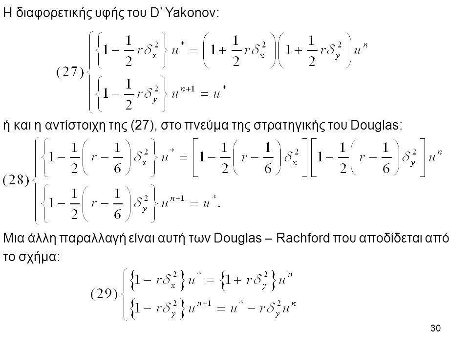 30 Η διαφορετικής υφής του D' Yakonov: ή και η αντίστοιχη της (27), στο πνεύμα της στρατηγικής του Douglas: Μια άλλη παραλλαγή είναι αυτή των Douglas