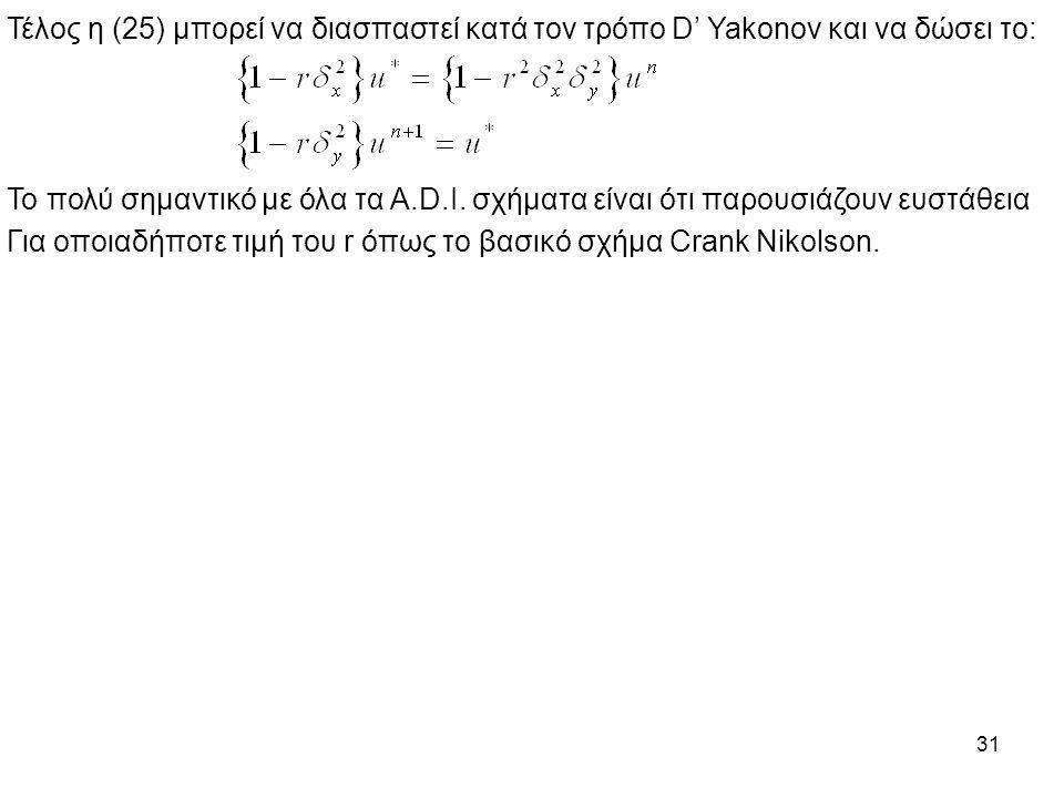 31 Τέλος η (25) μπορεί να διασπαστεί κατά τον τρόπο D' Yakonov και να δώσει το: Το πολύ σημαντικό με όλα τα A.D.I. σχήματα είναι ότι παρουσιάζουν ευστ