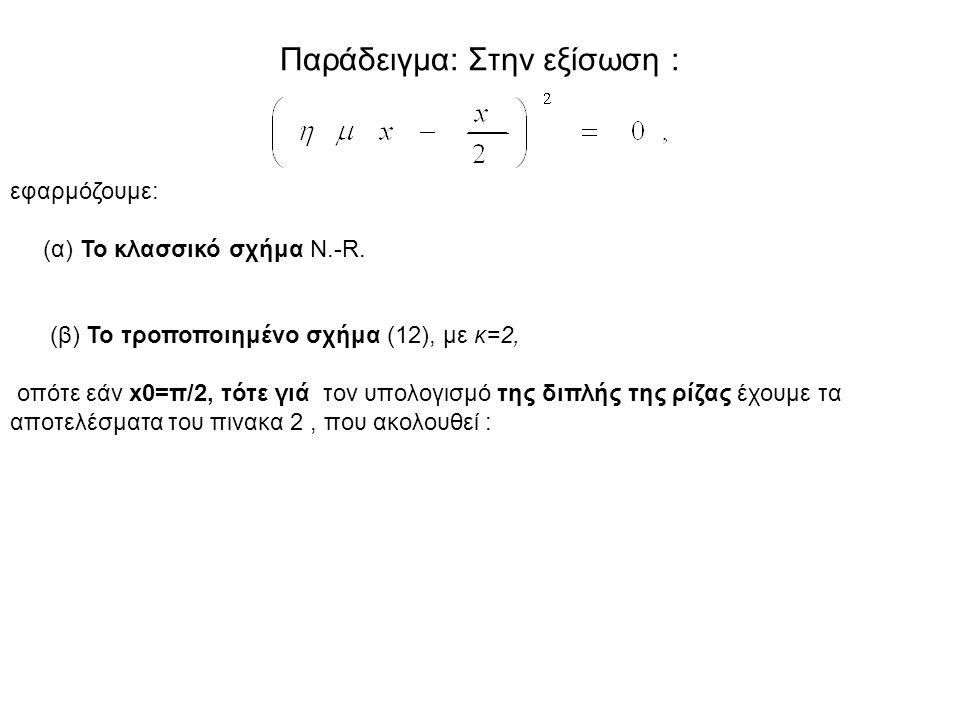Παράδειγμα: Στην εξίσωση : εφαρμόζουμε: (α) Το κλασσικό σχήμα Ν.-R. (β) Το τροποποιημένο σχήμα (12), με κ=2, οπότε εάν x0=π/2, τότε γιά τον υπολογισμό