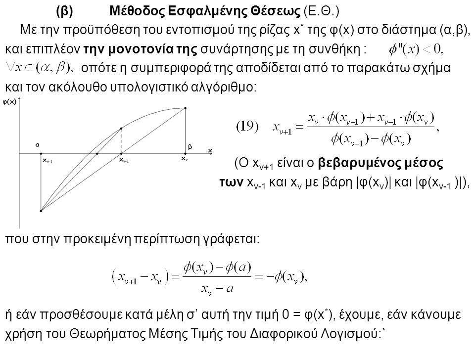(β) Μέθοδος Εσφαλμένης Θέσεως (Ε.Θ.) Με την προϋπόθεση του εντοπισμού της ρίζας x * της φ(x) στο διάστημα (α,β), και επιπλέον την μονοτονία της συνάρτ