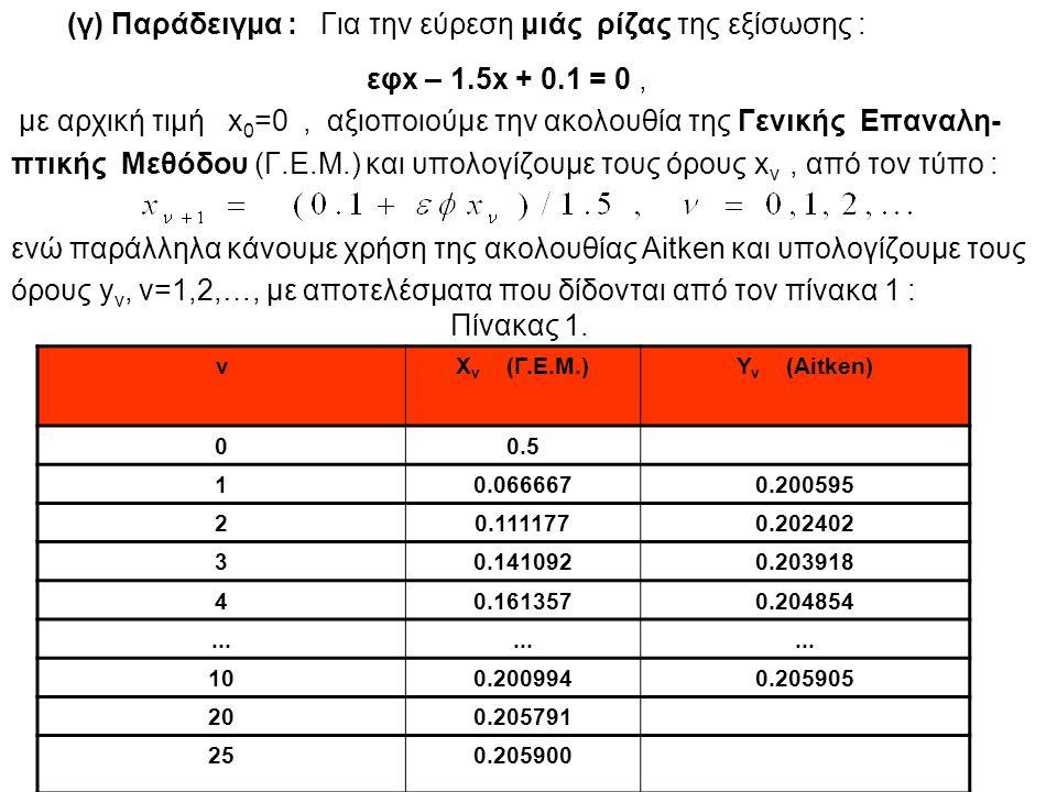 εφx – 1.5x + 0.1 = 0, με αρχική τιμή x 0 =0, αξιοποιούμε την ακολουθία της Γενικής Επαναλη- πτικής Μεθόδου (Γ.Ε.Μ.) και υπολογίζουμε τους όρους x ν, α