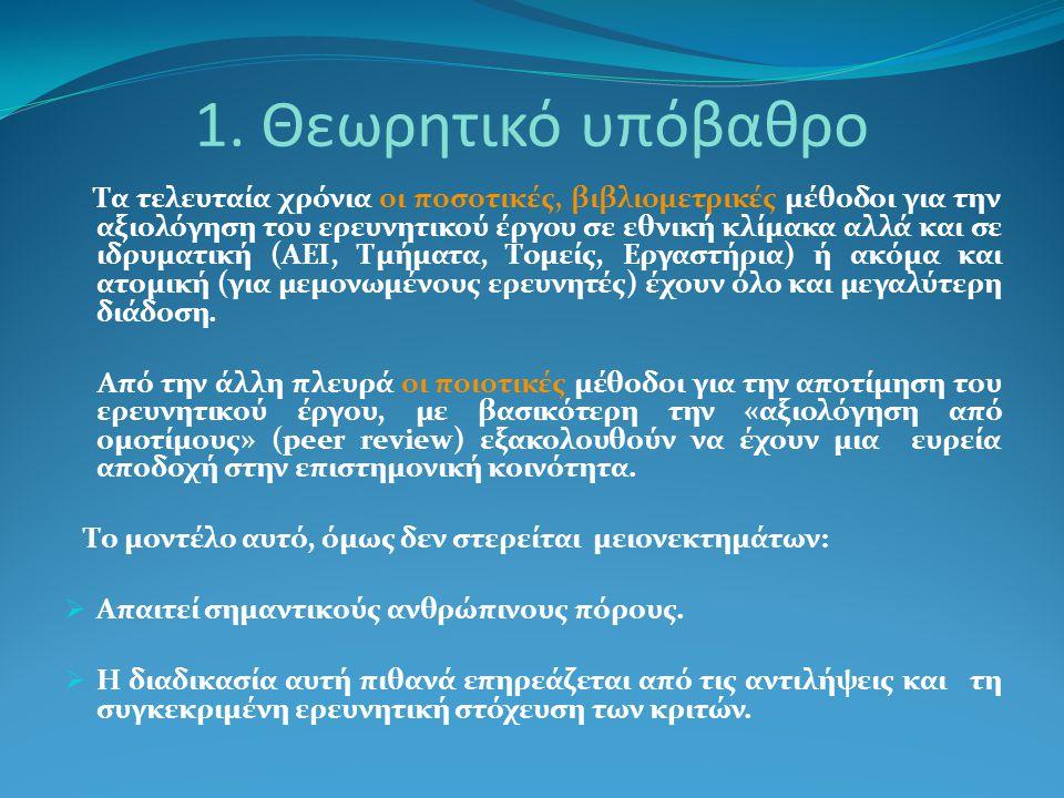 1. Θεωρητικό υπόβαθρο Τα τελευταία χρόνια οι ποσοτικές, βιβλιομετρικές μέθοδοι για την αξιολόγηση του ερευνητικού έργου σε εθνική κλίμακα αλλά και σε