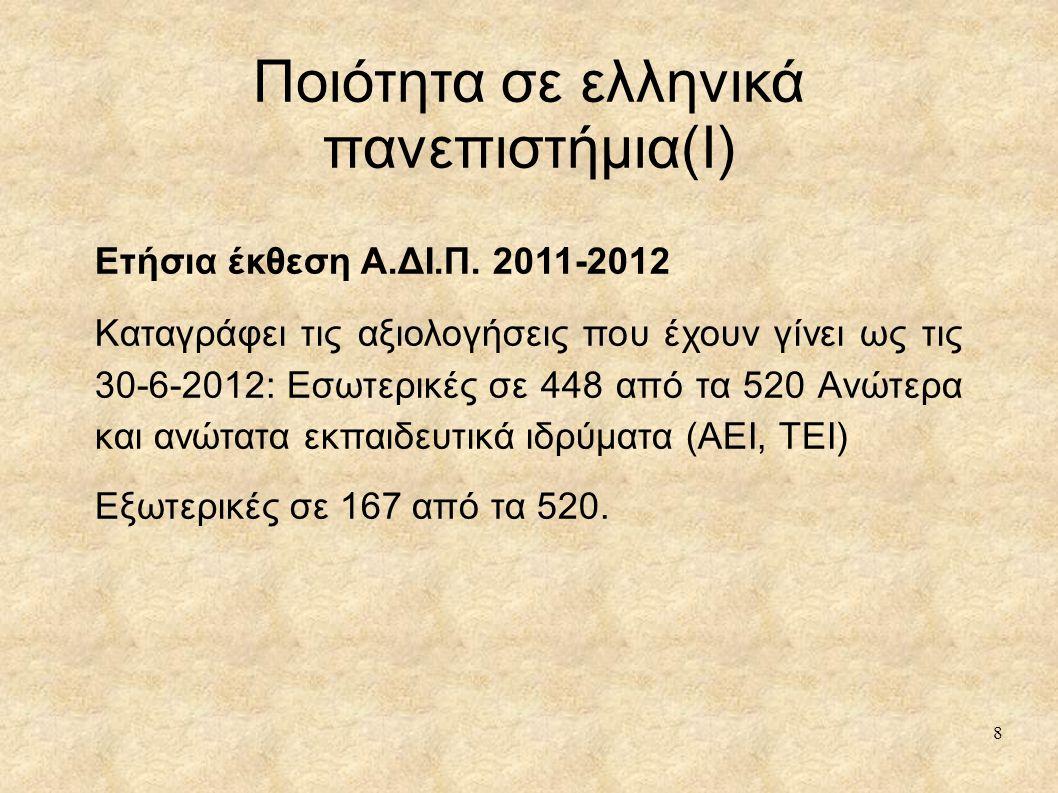 Ποιότητα σε ελληνικά πανεπιστήμια(I) Ετήσια έκθεση Α.ΔΙ.Π. 2011-2012 Καταγράφει τις αξιολογήσεις που έχουν γίνει ως τις 30-6-2012: Εσωτερικές σε 448 α
