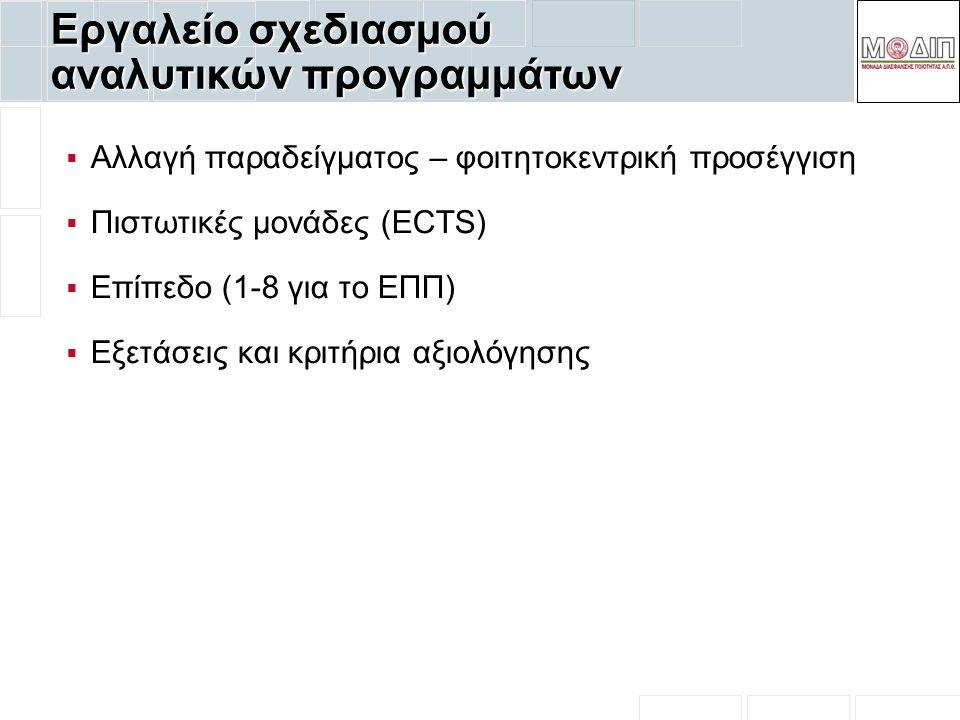 Εργαλείο σχεδιασμού αναλυτικών προγραμμάτων  Αλλαγή παραδείγματος – φοιτητοκεντρική προσέγγιση  Πιστωτικές μονάδες (ECTS)  Επίπεδο (1-8 για το ΕΠΠ)  Εξετάσεις και κριτήρια αξιολόγησης