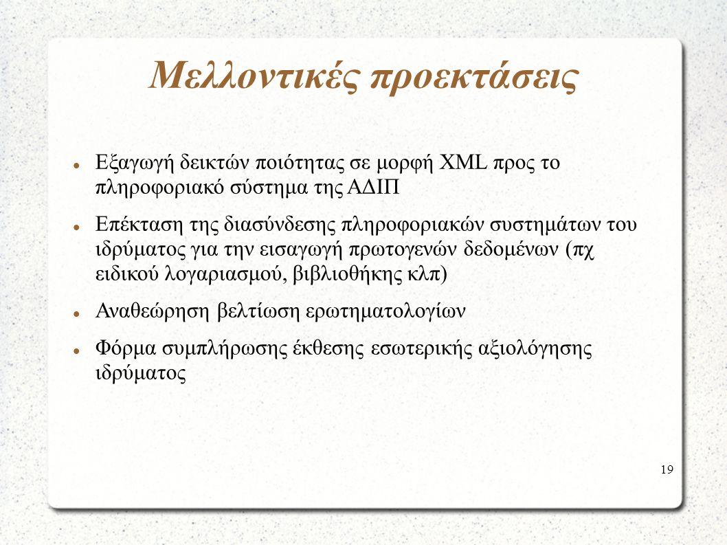 19 Μελλοντικές προεκτάσεις Εξαγωγή δεικτών ποιότητας σε μορφή ΧΜL προς το πληροφοριακό σύστημα της ΑΔΙΠ Επέκταση της διασύνδεσης πληροφοριακών συστημάτων του ιδρύματος για την εισαγωγή πρωτογενών δεδομένων (πχ ειδικού λογαριασμού, βιβλιοθήκης κλπ) Αναθεώρηση βελτίωση ερωτηματολογίων Φόρμα συμπλήρωσης έκθεσης εσωτερικής αξιολόγησης ιδρύματος