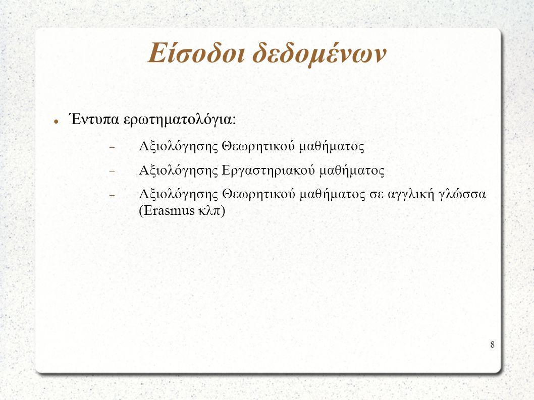 8 Έντυπα ερωτηματολόγια:  Αξιολόγησης Θεωρητικού μαθήματος  Αξιολόγησης Εργαστηριακού μαθήματος  Αξιολόγησης Θεωρητικού μαθήματος σε αγγλική γλώσσα (Erasmus κλπ) Είσοδοι δεδομένων