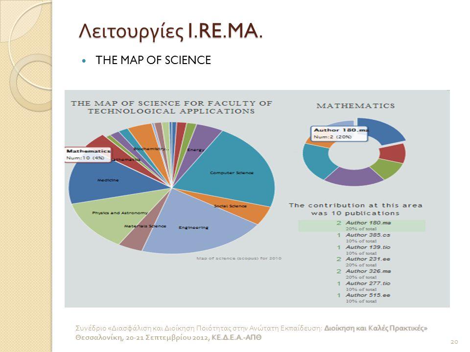 Λειτουργίες I.RE.MA. THE MAP OF SCIENCE 20 Διοίκηση και Καλές Πρακτικές » Συνέδριο « Διασφάλιση και Διοίκηση Ποιότητας στην Ανώτατη Εκπαίδευση : Διοίκ