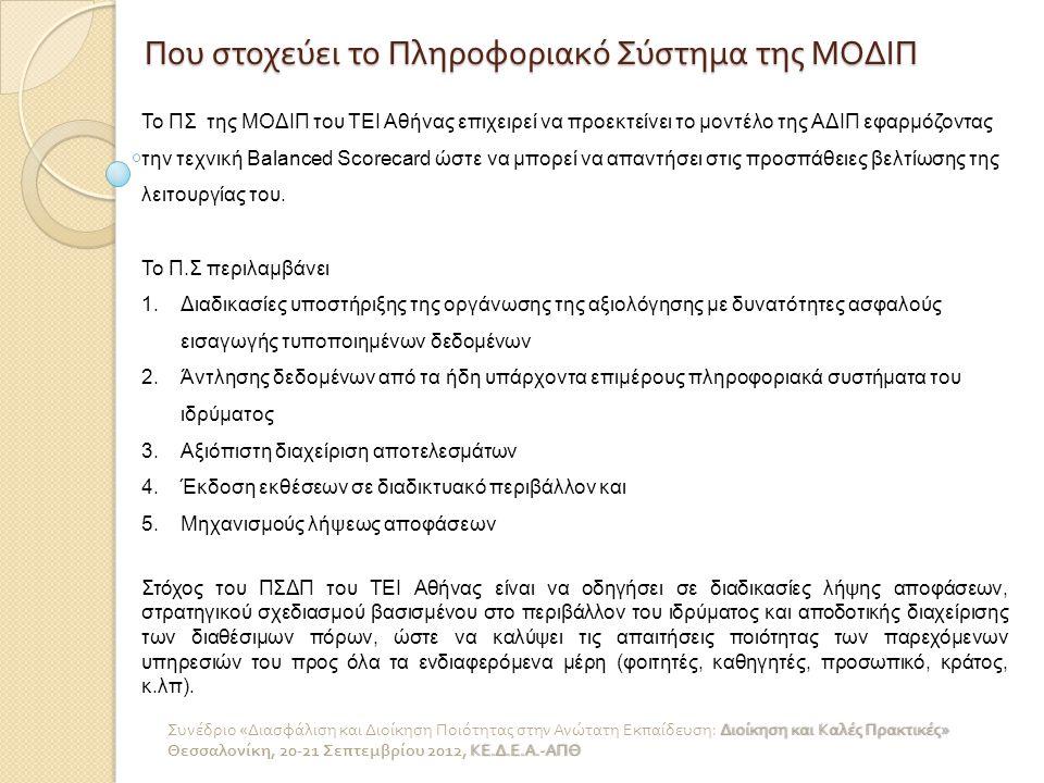 Αρχιτεκτονική πληροφοριακού συστήματος ΜΟΔΙΠ ΤΕΙ - Α Το ΠΣΔΠ αποτελείται από τρία υποσυστήματα συλλογής δεδομένων: 1.Στοιχείων Αξιολόγησης Ακαδημαϊκών Μονάδων, το οποίο θα συγκεντρώνει όλα τα απαραίτητα δεδομένα για την σύνταξη των εσωτερικών εκθέσεων αξιολόγησης των τμημάτων του ΤΕΙ Αθήνας (απογραφικά δελτία των μελών επιστημονικού προσωπικού, ερωτηματολόγια αξιολόγησης μαθημάτων από σπουδαστές, κ.λπ.).