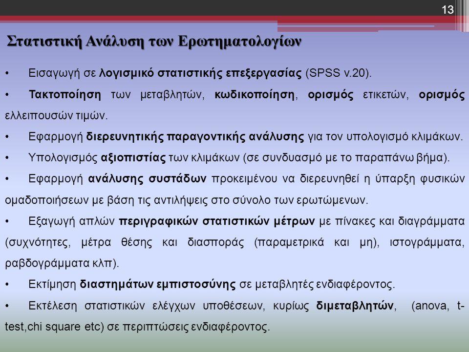 Εισαγωγή σε λογισμικό στατιστικής επεξεργασίας (SPSS v.20). Τακτοποίηση των μεταβλητών, κωδικοποίηση, ορισμός ετικετών, ορισμός ελλειπουσών τιμών. Εφα
