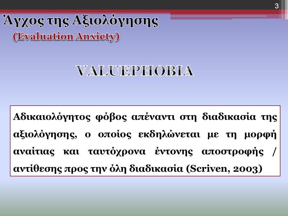 3 Αδικαιολόγητος φόβος απέναντι στη διαδικασία της αξιολόγησης, ο οποίος εκδηλώνεται με τη μορφή αναίτιας και ταυτόχρονα έντονης αποστροφής / αντίθεσης προς την όλη διαδικασία (Scriven, 2003)