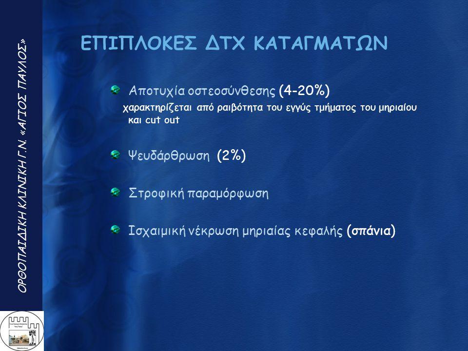 ΕΠΙΠΛΟΚΕΣ ΔΤΧ ΚΑΤΑΓΜΑΤΩΝ Αποτυχία οστεοσύνθεσης (4-20%) χαρακτηρίζεται από ραιβότητα του εγγύς τμήματος του μηριαίου και cut out Ψευδάρθρωση (2%) Στρο