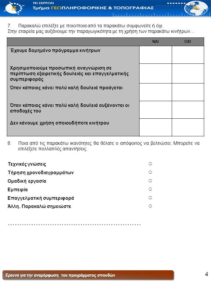 Ερευνα για την αναμόρφωση του προγράμματος σπουδών 4 7.Παρακαλώ επιλέξτε με ποιο/ποια από τα παρακάτω συμφωνείτε ή όχι.