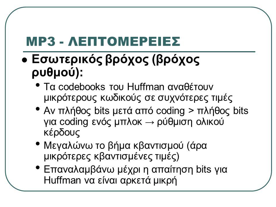 MP3 - ΛΕΠΤΟΜΕΡΕΙΕΣ Εσωτερικός βρόχος (βρόχος ρυθμού): Τα codebooks του Huffman αναθέτουν μικρότερους κωδικούς σε συχνότερες τιμές Αν πλήθος bits μετά