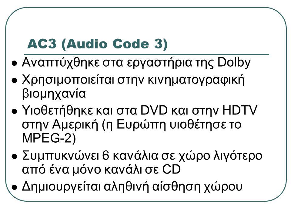 AC3 (Audio Code 3) Αναπτύχθηκε στα εργαστήρια της Dolby Χρησιμοποιείται στην κινηματογραφική βιομηχανία Υιοθετήθηκε και στα DVD και στην HDTV στην Αμε
