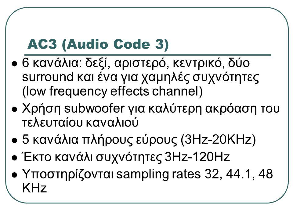 AC3 (Audio Code 3) 6 κανάλια: δεξί, αριστερό, κεντρικό, δύο surround και ένα για χαμηλές συχνότητες (low frequency effects channel) Χρήση subwoofer γι