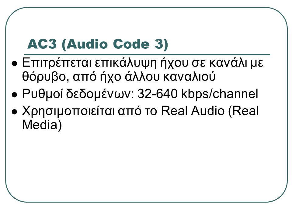AC3 (Audio Code 3) Επιτρέπεται επικάλυψη ήχου σε κανάλι με θόρυβο, από ήχο άλλου καναλιού Ρυθμοί δεδομένων: 32-640 kbps/channel Χρησιμοποιείται από το