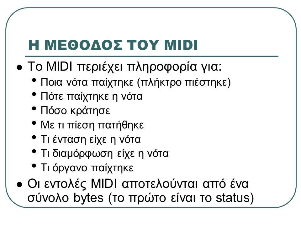 Η ΜΕΘΟΔΟΣ ΤΟΥ MIDI To MIDI περιέχει πληροφορία για: Ποια νότα παίχτηκε (πλήκτρο πιέστηκε) Πότε παίχτηκε η νότα Πόσο κράτησε Με τι πίεση πατήθηκε Τι έν