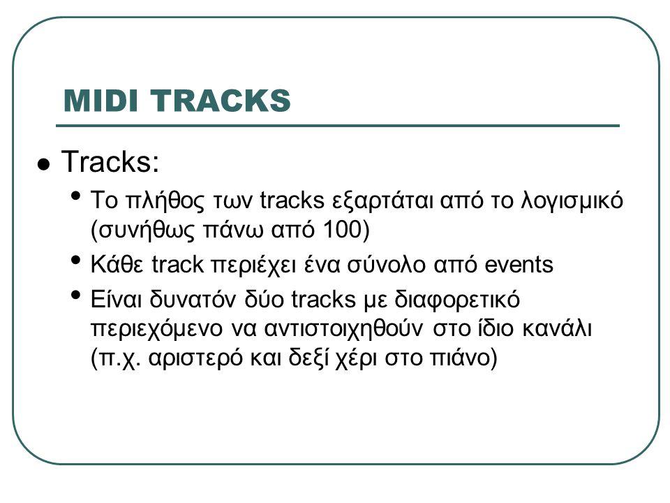 MIDI TRACKS Tracks: Το πλήθος των tracks εξαρτάται από το λογισμικό (συνήθως πάνω από 100) Κάθε track περιέχει ένα σύνολο από events Είναι δυνατόν δύο