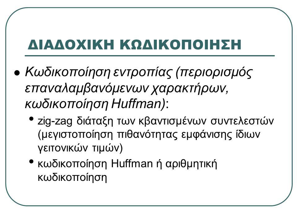 ΔΙΑΔΟΧΙΚΗ ΚΩΔΙΚΟΠΟΙΗΣΗ Κωδικοποίηση εντροπίας (περιορισμός επαναλαμβανόμενων χαρακτήρων, κωδικοποίηση Huffman): zig-zag διάταξη των κβαντισμένων συντελεστών (μεγιστοποίηση πιθανότητας εμφάνισης ίδιων γειτονικών τιμών) κωδικοποίηση Huffman ή αριθμητική κωδικοποίηση