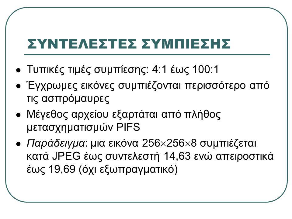 ΣΥΝΤΕΛΕΣΤΕΣ ΣΥΜΠΙΕΣΗΣ Τυπικές τιμές συμπίεσης: 4:1 έως 100:1 Έγχρωμες εικόνες συμπιέζονται περισσότερο από τις ασπρόμαυρες Μέγεθος αρχείου εξαρτάται από πλήθος μετασχηματισμών PIFS Παράδειγμα: μια εικόνα 256  256  8 συμπιέζεται κατά JPEG έως συντελεστή 14,63 ενώ απειροστικά έως 19,69 (όχι εξωπραγματικό)