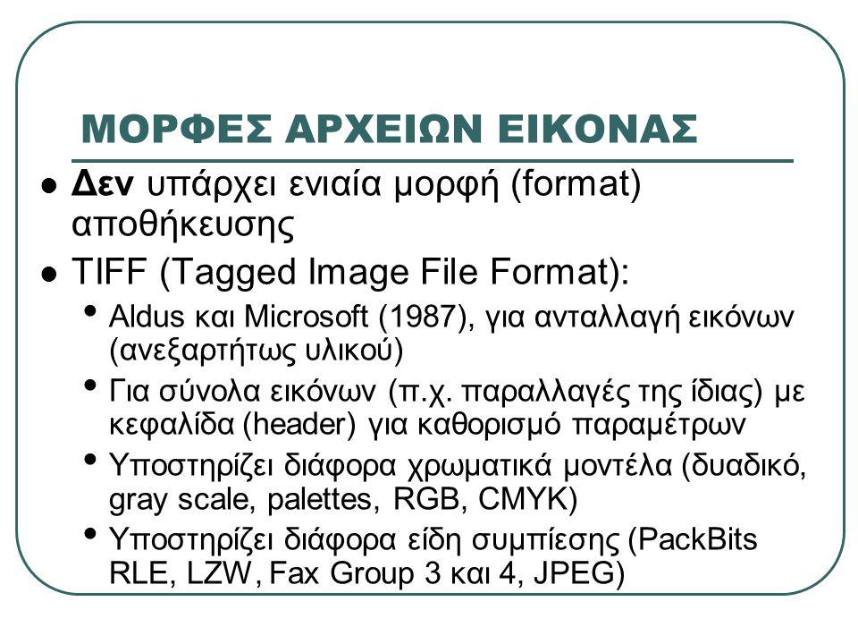 ΜΟΡΦΕΣ ΑΡΧΕΙΩΝ ΕΙΚΟΝΑΣ Δεν υπάρχει ενιαία μορφή (format) αποθήκευσης TIFF (Tagged Image File Format): Aldus και Microsoft (1987), για ανταλλαγή εικόνων (ανεξαρτήτως υλικού) Για σύνολα εικόνων (π.χ.