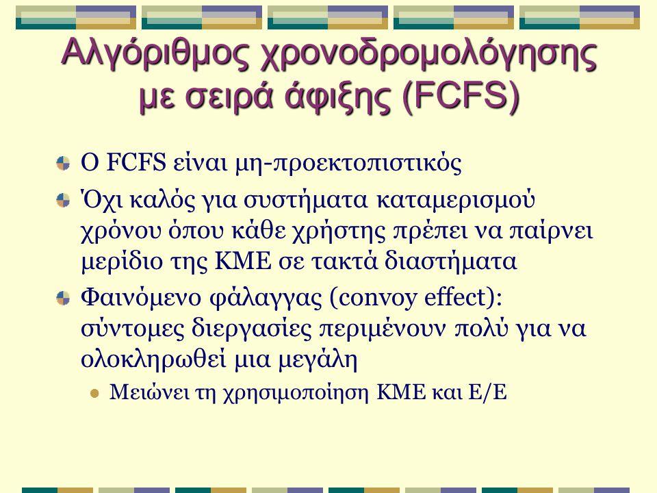 Αλγόριθμος χρονοδρομολόγησης με σειρά άφιξης (FCFS) Ο FCFS είναι μη-προεκτοπιστικός Όχι καλός για συστήματα καταμερισμού χρόνου όπου κάθε χρήστης πρέπει να παίρνει μερίδιο της ΚΜΕ σε τακτά διαστήματα Φαινόμενο φάλαγγας (convoy effect): σύντομες διεργασίες περιμένουν πολύ για να ολοκληρωθεί μια μεγάλη Μειώνει τη χρησιμοποίηση ΚΜΕ και Ε/Ε