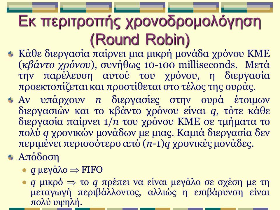 Εκ περιτροπής χρονοδρομολόγηση (Round Robin) Κάθε διεργασία παίρνει μια μικρή μονάδα χρόνου ΚΜΕ (κβάντο χρόνου), συνήθως 10-100 milliseconds. Μετά την