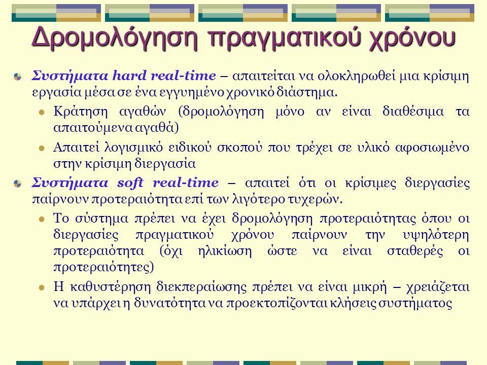 Δρομολόγηση πραγματικού χρόνου Συστήματα hard real-time – απαιτείται να ολοκληρωθεί μια κρίσιμη εργασία μέσα σε ένα εγγυημένο χρονικό διάστημα.