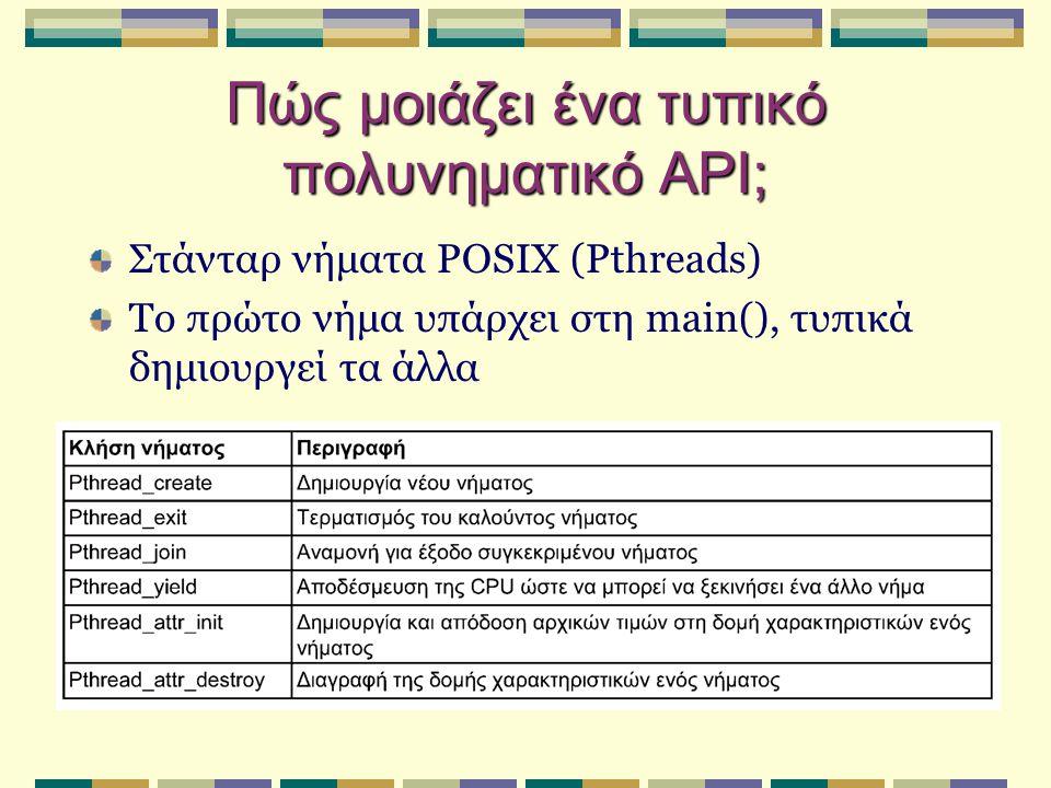 Πώς μοιάζει ένα τυπικό πολυνηματικό API; Στάνταρ νήματα POSIX (Pthreads) Το πρώτο νήμα υπάρχει στη main(), τυπικά δημιουργεί τα άλλα