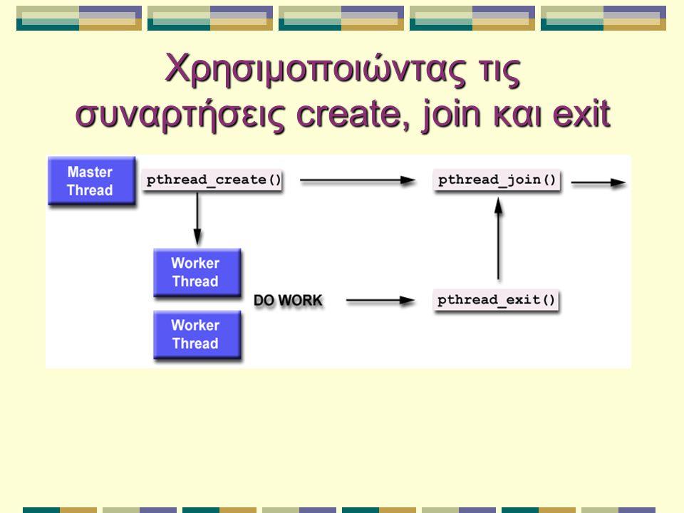 Χρησιμοποιώντας τις συναρτήσεις create, join και exit
