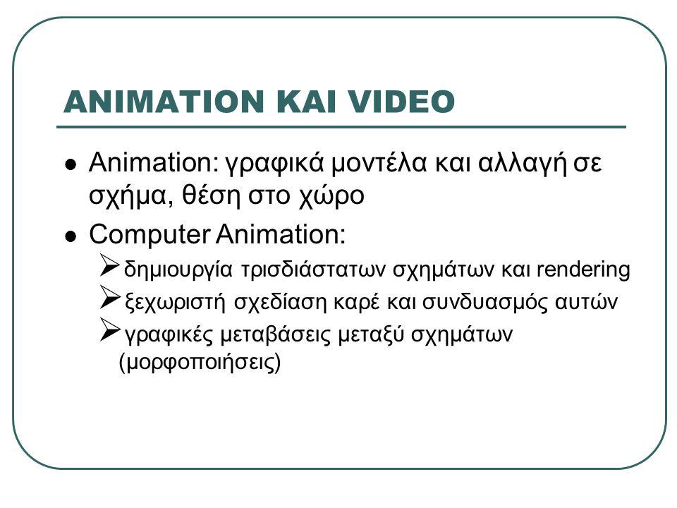 ANIMATION ΚΑΙ VIDEO Animation: γραφικά μοντέλα και αλλαγή σε σχήμα, θέση στο χώρο Computer Animation:  δημιουργία τρισδιάστατων σχημάτων και rendering  ξεχωριστή σχεδίαση καρέ και συνδυασμός αυτών  γραφικές μεταβάσεις μεταξύ σχημάτων (μορφοποιήσεις)