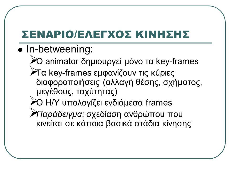ΣΕΝΑΡΙΟ/ΕΛΕΓΧΟΣ ΚΙΝΗΣΗΣ In-betweening:  O animator δημιουργεί μόνο τα key-frames  Τα key-frames εμφανίζουν τις κύριες διαφοροποιήσεις (αλλαγή θέσης,