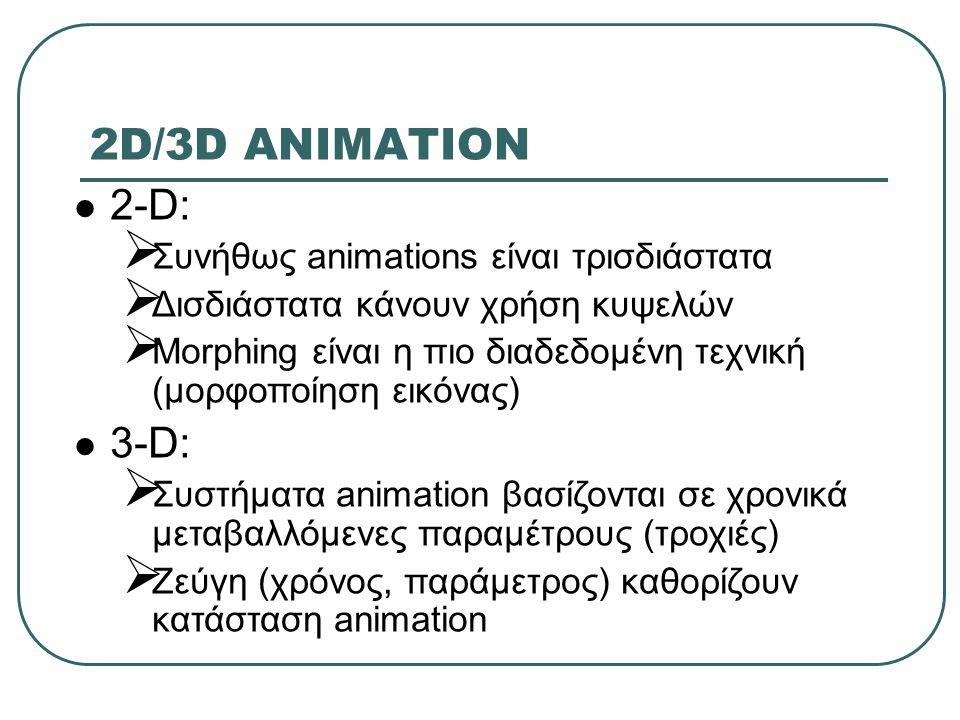 2D/3D ANIMATION 2-D:  Συνήθως animations είναι τρισδιάστατα  Δισδιάστατα κάνουν χρήση κυψελών  Morphing είναι η πιο διαδεδομένη τεχνική (μορφοποίηση εικόνας) 3-D:  Συστήματα animation βασίζονται σε χρονικά μεταβαλλόμενες παραμέτρους (τροχιές)  Ζεύγη (χρόνος, παράμετρος) καθορίζουν κατάσταση animation