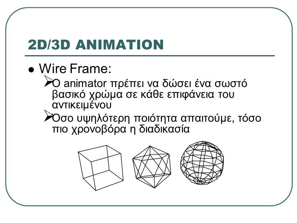 2D/3D ANIMATION Wire Frame:  O animator πρέπει να δώσει ένα σωστό βασικό χρώμα σε κάθε επιφάνεια του αντικειμένου  Όσο υψηλότερη ποιότητα απαιτούμε, τόσο πιο χρονοβόρα η διαδικασία
