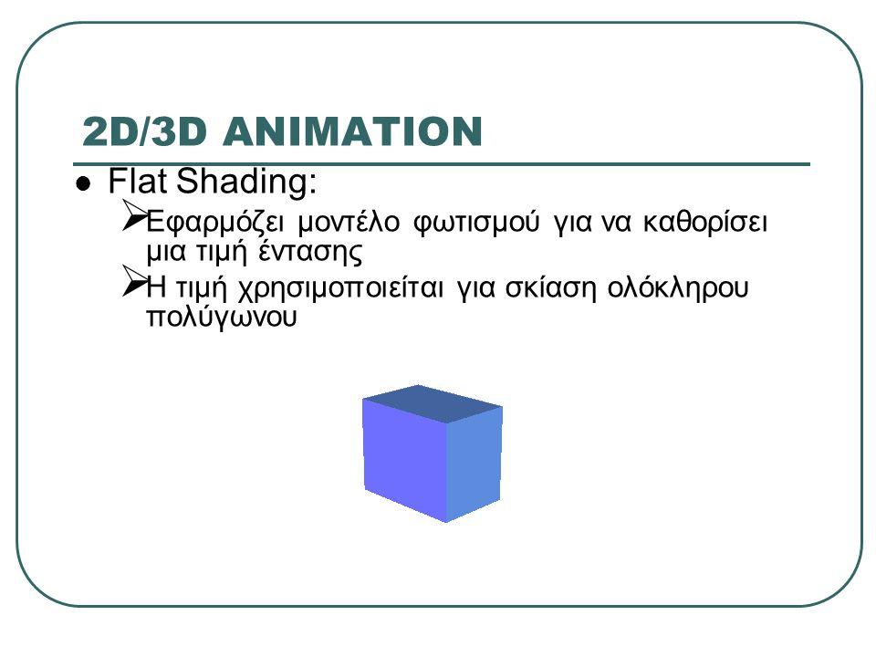 2D/3D ANIMATION Flat Shading:  Εφαρμόζει μοντέλο φωτισμού για να καθορίσει μια τιμή έντασης  Η τιμή χρησιμοποιείται για σκίαση ολόκληρου πολύγωνου
