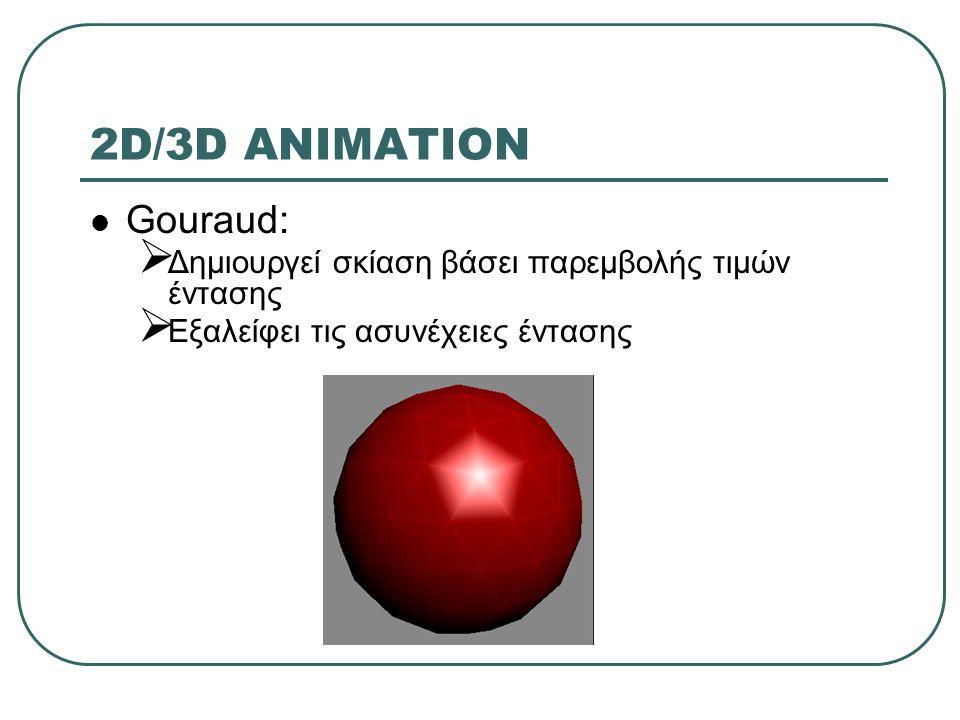 2D/3D ANIMATION Gouraud:  Δημιουργεί σκίαση βάσει παρεμβολής τιμών έντασης  Εξαλείφει τις ασυνέχειες έντασης
