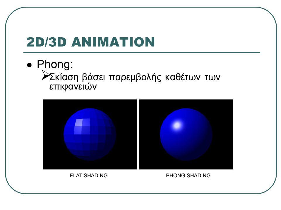 2D/3D ANIMATION Phong:  Σκίαση βάσει παρεμβολής καθέτων των επιφανειών