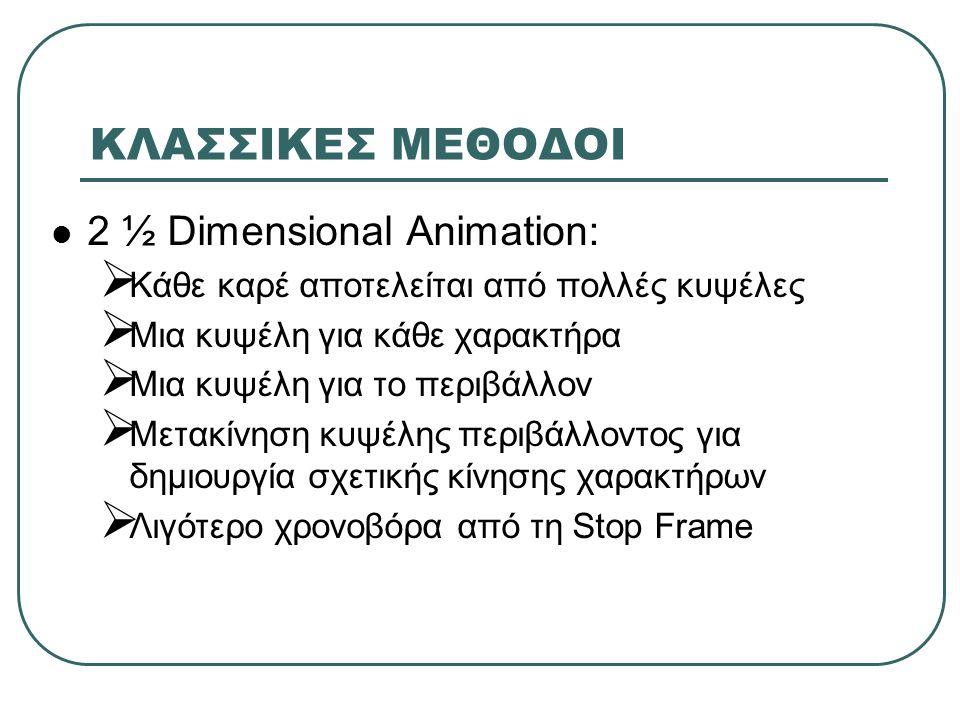 ΚΛΑΣΣΙΚΕΣ ΜΕΘΟΔΟΙ 2 ½ Dimensional Animation:  Κάθε καρέ αποτελείται από πολλές κυψέλες  Μια κυψέλη για κάθε χαρακτήρα  Μια κυψέλη για το περιβάλλον