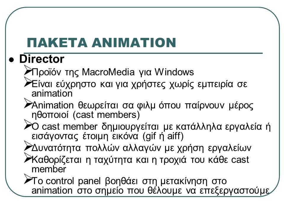 ΠΑΚΕΤA ΑΝΙΜΑΤΙΟΝ Director  Προϊόν της MacroMedia για Windows  Είναι εύχρηστο και για χρήστες χωρίς εμπειρία σε animation  Animation θεωρείται σα φι