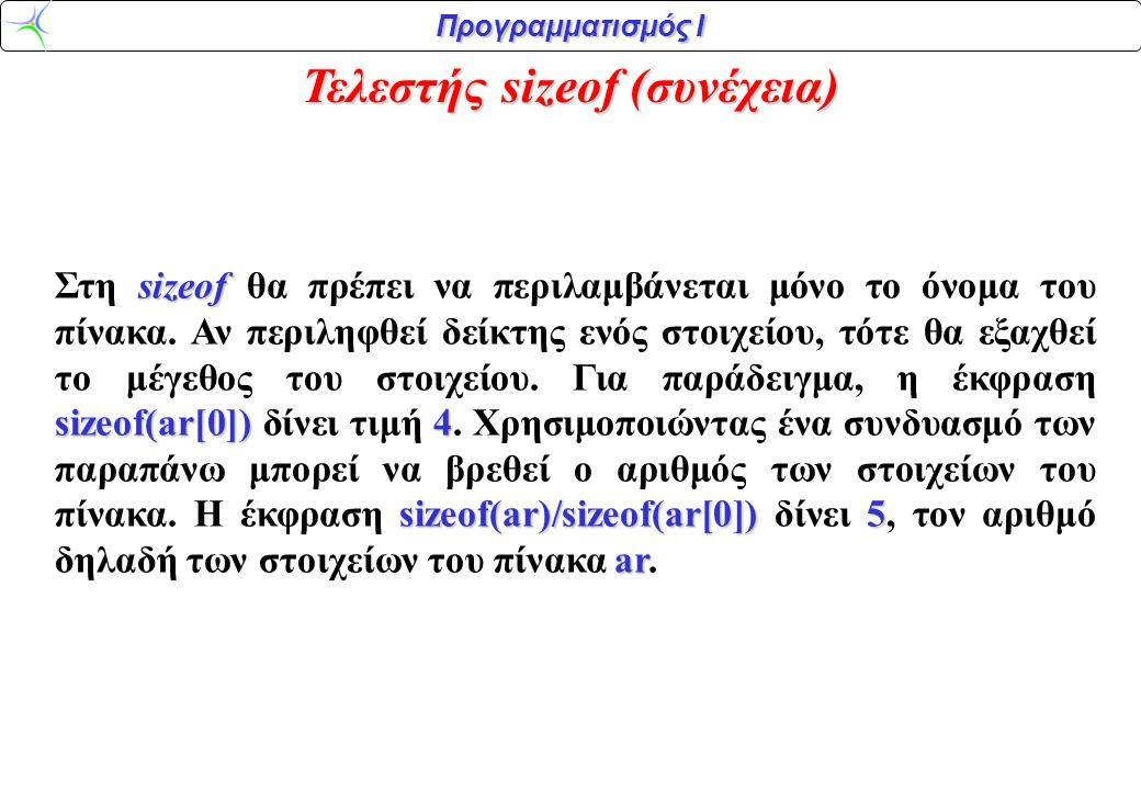 Προγραμματισμός Ι Τελεστής sizeof (συνέχεια) sizeof sizeof(ar[0])4 sizeof(ar)/sizeof(ar[0])5 ar Στη sizeof θα πρέπει να περιλαμβάνεται μόνο το όνομα τ