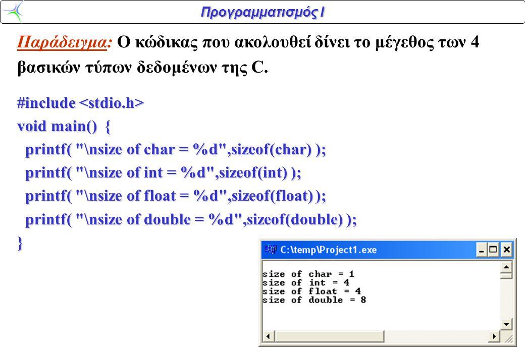 Προγραμματισμός Ι Παράδειγμα: Ο κώδικας που ακολουθεί δίνει το μέγεθος των 4 βασικών τύπων δεδομένων της C. #include #include void main() { printf(