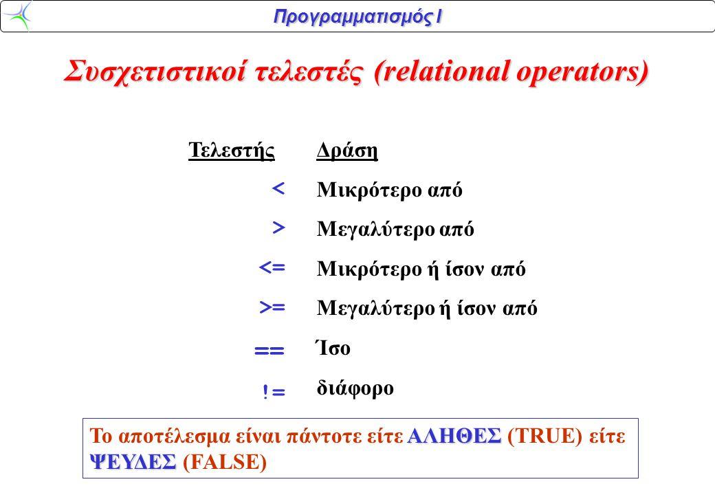 Προγραμματισμός Ι Παράδειγμα: (3 < 2)ΨΕΥΔΗΣ –Η τιμή της έκφρασης (3 < 2) είναι ΨΕΥΔΗΣ (2 = = 2)ΑΛΗΘΗΣ –Η τιμή της έκφρασης (2 = = 2) είναι ΑΛΗΘΗΣ Στη C (και σε πολλές άλλες γλώσσες), ΑΛΗΘΗΣ –Η τιμή ΑΛΗΘΗΣ αντιστοιχεί στον ακέραιο 1 ΨΕΥΔΗΣ –Η τιμή ΨΕΥΔΗΣ αντιστοιχεί στον ακέραιο 0 Συσχετιστικοί τελεστές