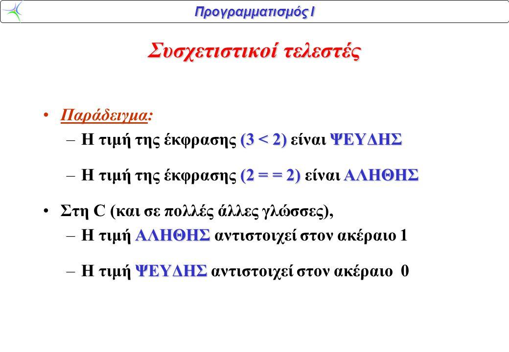 Προγραμματισμός Ι Συσχετιστικοί – Αριθμητικοί Τελεστές: ΚΑΙ ΟΙ ΔΥΟ χρησιμοποιούν αριθμητικές εισόδους:ΚΑΙ ΟΙ ΔΥΟ χρησιμοποιούν αριθμητικές εισόδους: (num < 10)(num + 10) Παράδειγμα: (num < 10) και (num + 10) num (όπου num είναι μία ακέραια μεταβλητή) Ωστόσο, οι συσχετιστικές έξοδοι είναι μόνο TRUE/FALSE.Ωστόσο, οι συσχετιστικές έξοδοι είναι μόνο TRUE/FALSE.
