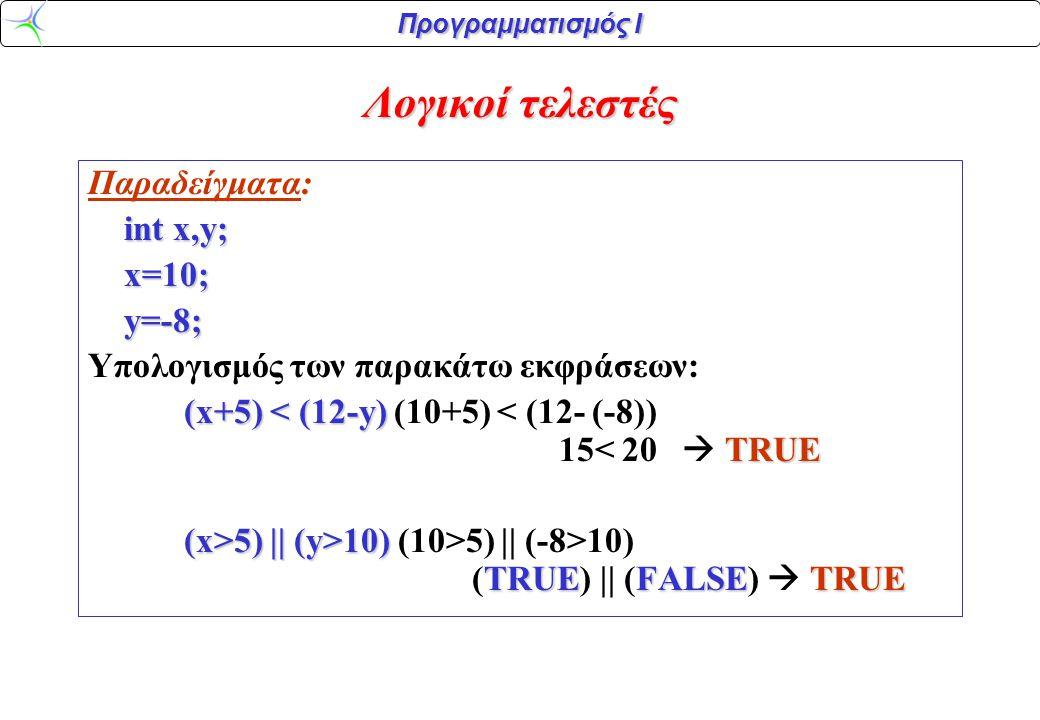 Προγραμματισμός Ι Λογικοί τελεστές Παραδείγματα: int x,y; x=10;y=-8; Υπολογισμός των παρακάτω εκφράσεων: (x+5) < (12-y) TRUE (x+5) < (12-y) (10+5) < (