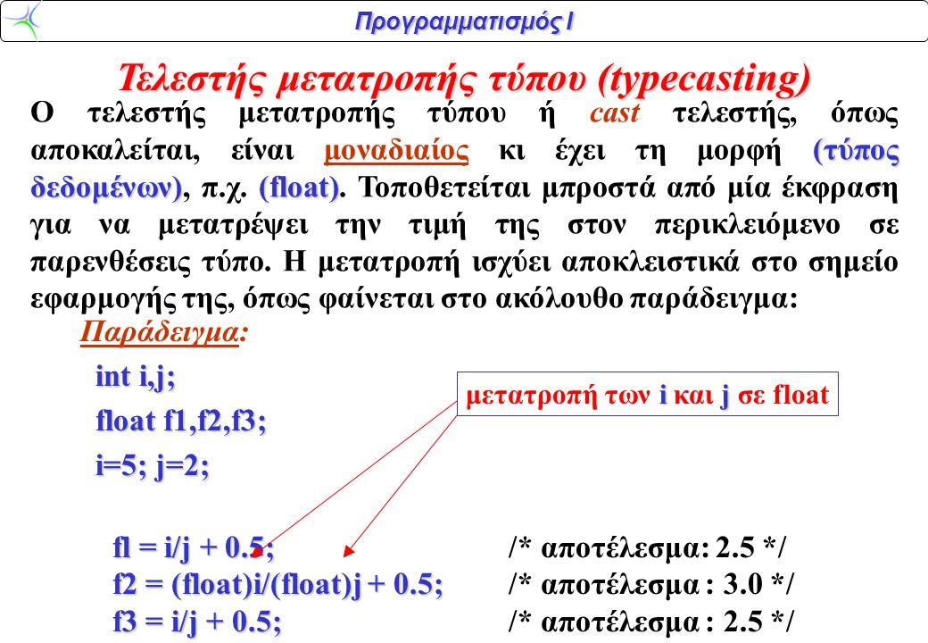 Προγραμματισμός Ι Τελεστής μετατροπής τύπου (typecasting) Παράδειγμα: int i,j; int i,j; float f1,f2,f3; float f1,f2,f3; i=5; j=2; i=5; j=2; fl = i/j +