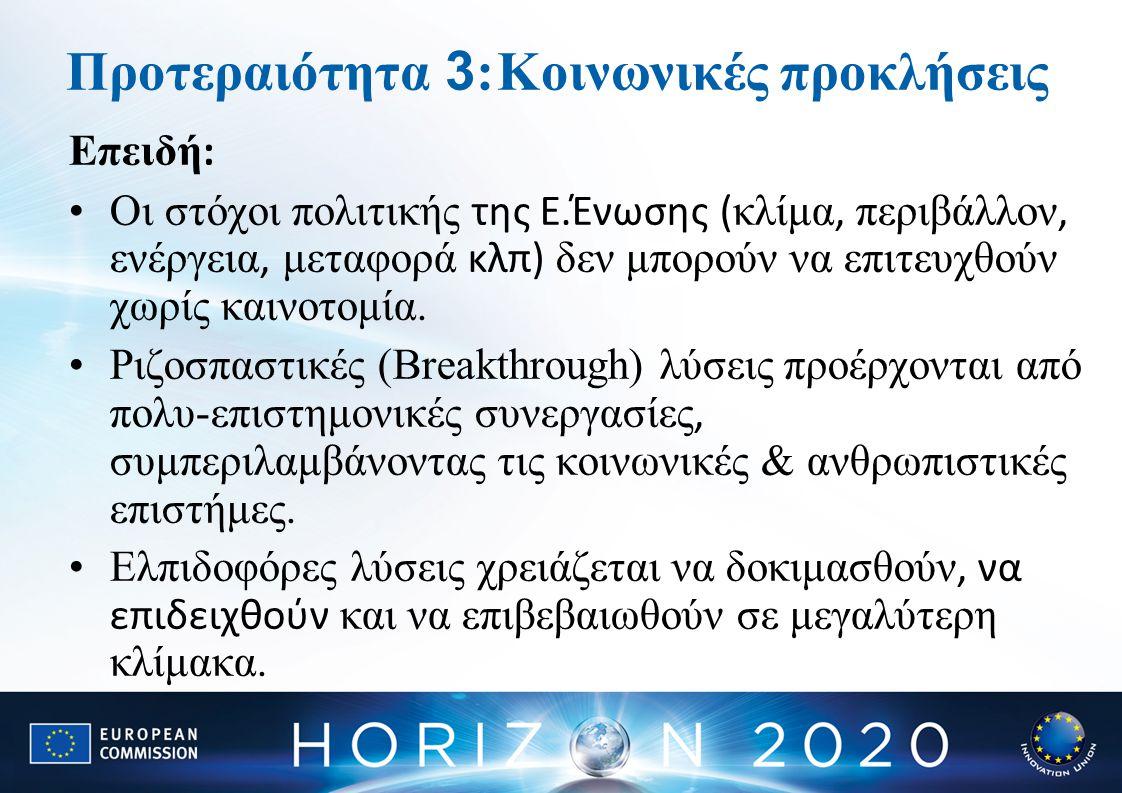 Προτεραιότητα 3 :Κοινωνικές προκλήσεις Επειδή : Οι στόχοι πολιτικής της Ε.Ένωσης ( κλίμα, περιβάλλον, ενέργεια, μεταφορά κλπ) δεν μπορούν να επιτευχθούν χωρίς καινοτομία.