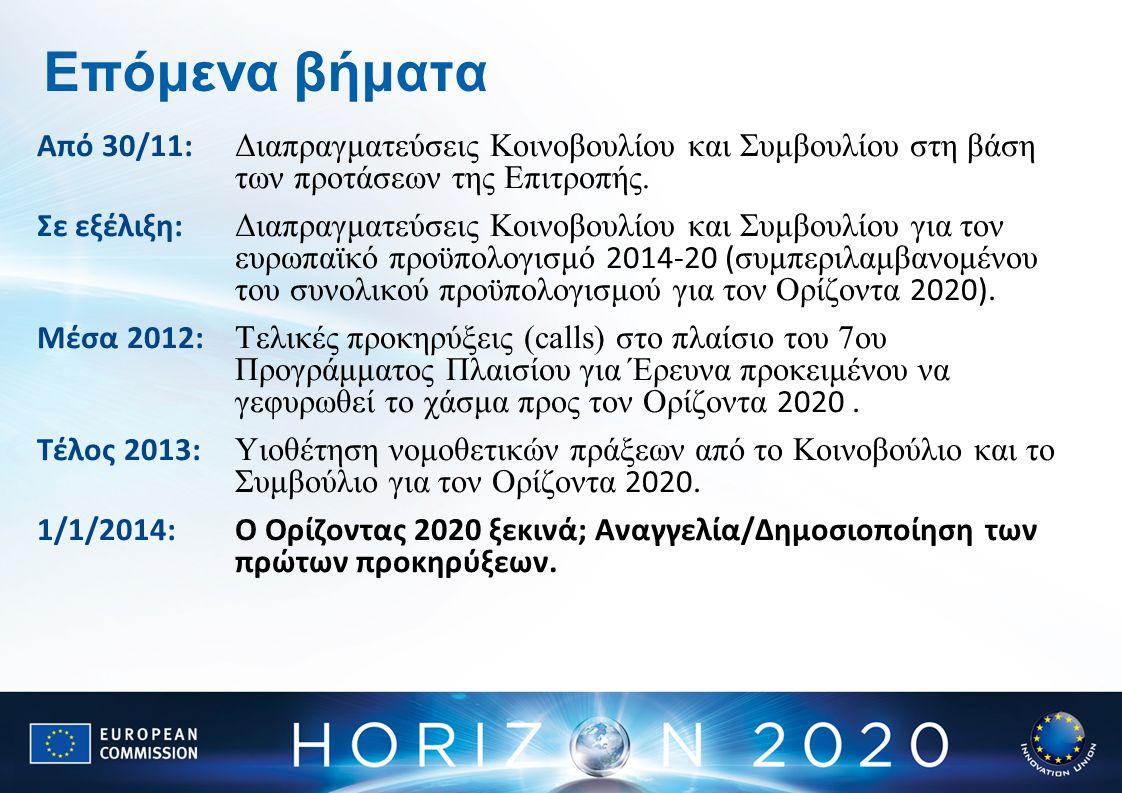 Επόμενα βήματα Από 30/11: Διαπραγματεύσεις Κοινοβουλίου και Συμβουλίου στη βάση των προτάσεων της Επιτροπής. Σε εξέλιξη: Διαπραγματεύσεις Κοινοβουλίου